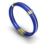 Pulsera de hombre en hilos de acero azul con oro amarillo