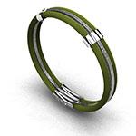 Pulsera de hombre en hilos de acero verde con plata