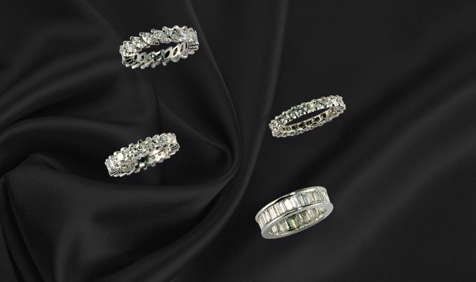 Alianzas en oro blanco con diamantes en diferentes tipos de talla