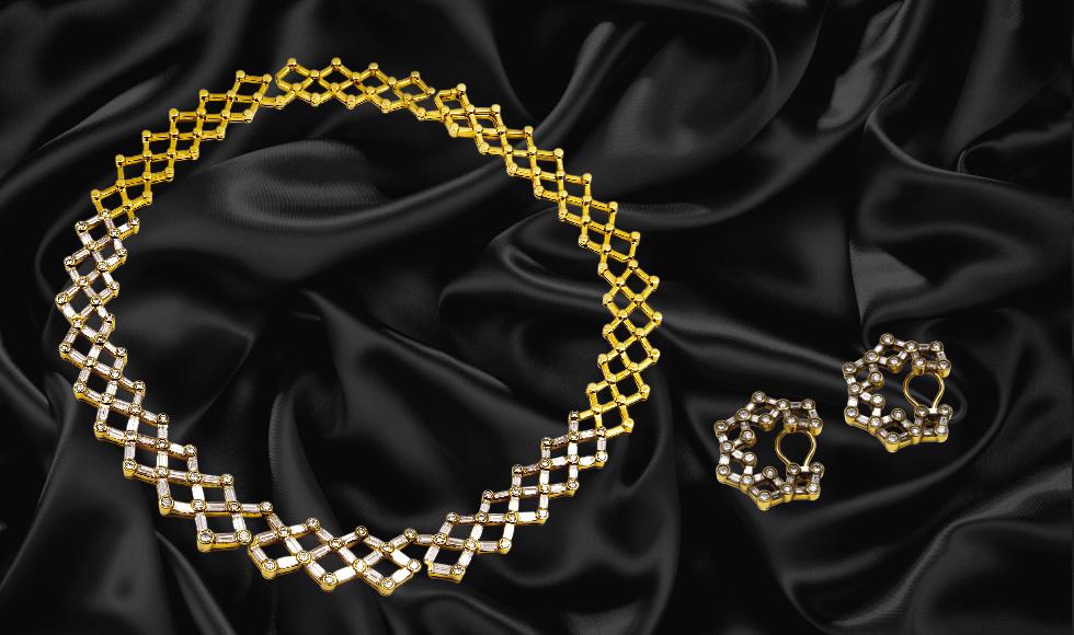 Collar y pendientes de oro amarillo con diamantes talla baguette
