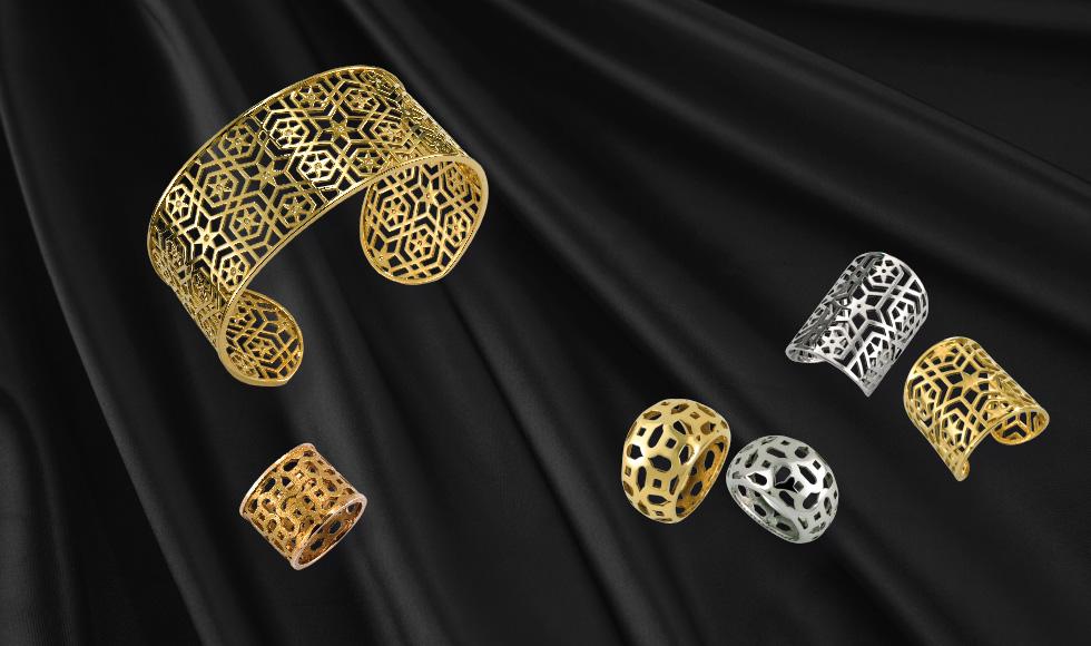 Joyas de oro blanco y oro amarillo de la colección Celosía