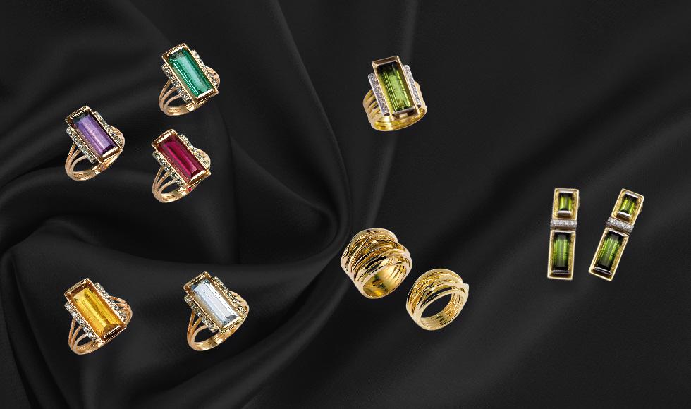 Anillos y pendientes de oro con brillantes y piedras preciosas de la colección Deco