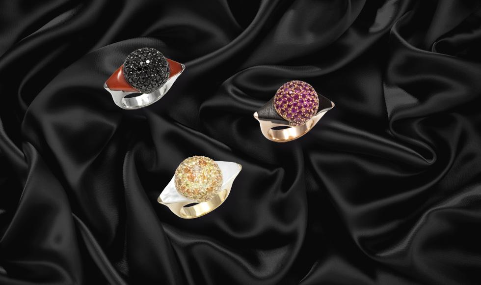 Anillos de oro amarillo, blanco y rosa con brillantes y piedras preciosas de la colección esferas