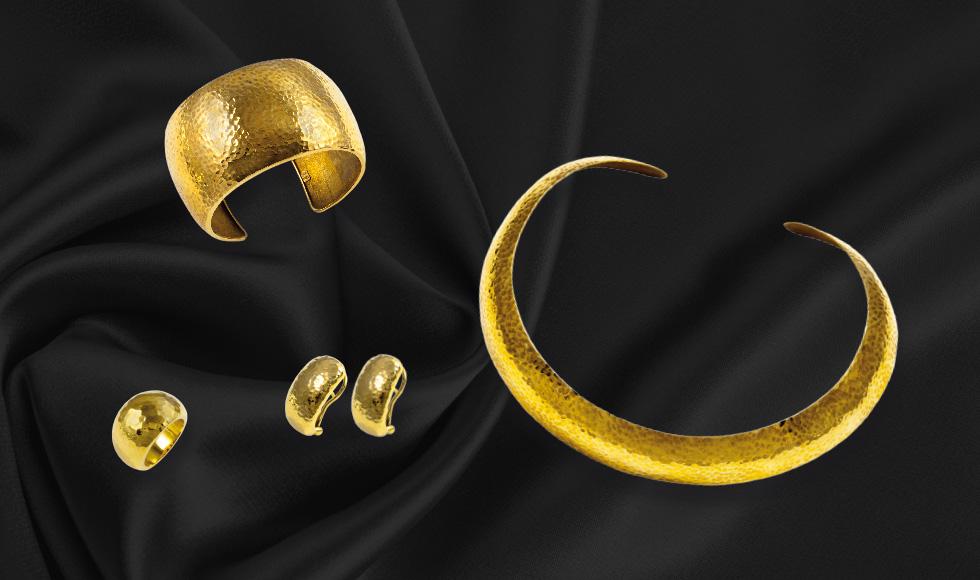 Joyas de oro amarillo en acabado martelé