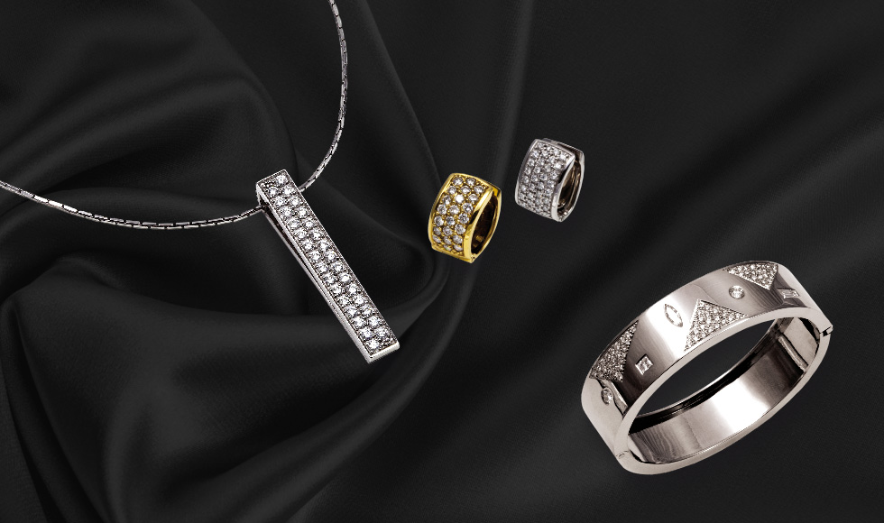 Colgante, pulsera y anillos en oro blanco y amarillo con brillantes de la colección pavés