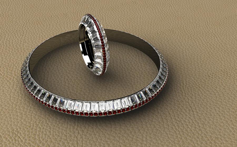 ESCLAVA y ANILLO BAGUETTES en oro blanco y diamantes