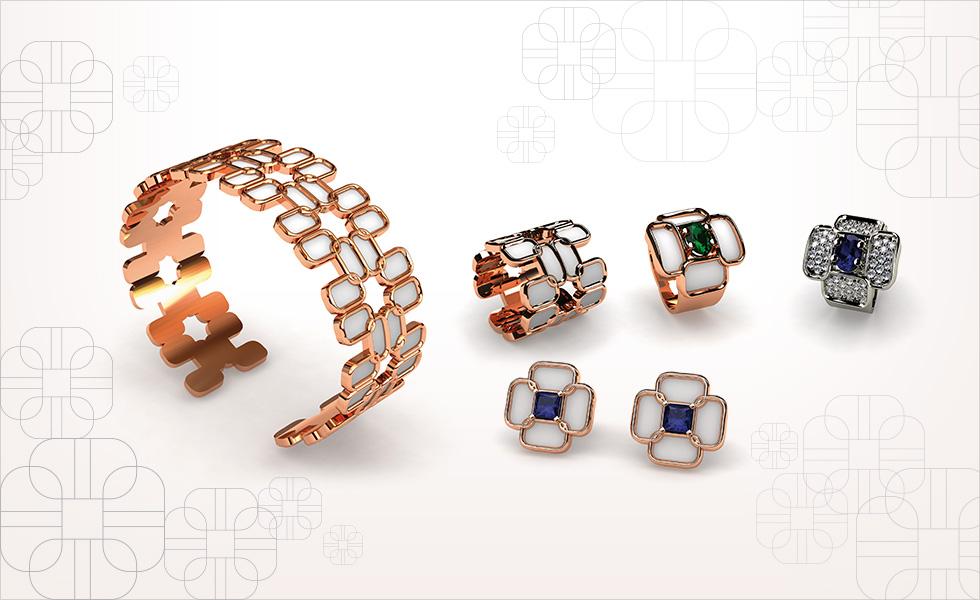 Colección anima translucido realizado en esmalte al fuego y oro blanco o rosa con piedras preciosas