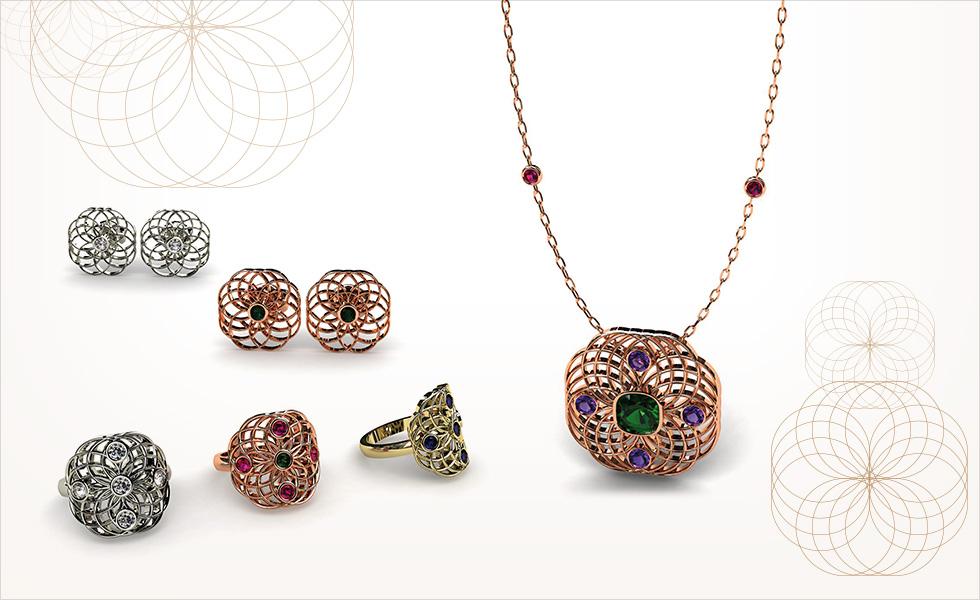 Colección aros conjunto de colgante, pendientes y anillos