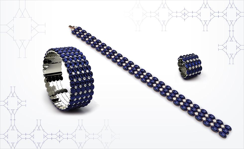 Colección cabujones, conjunto de esclava, pulsera y anillo en oro blanco con zafiro y diamantes