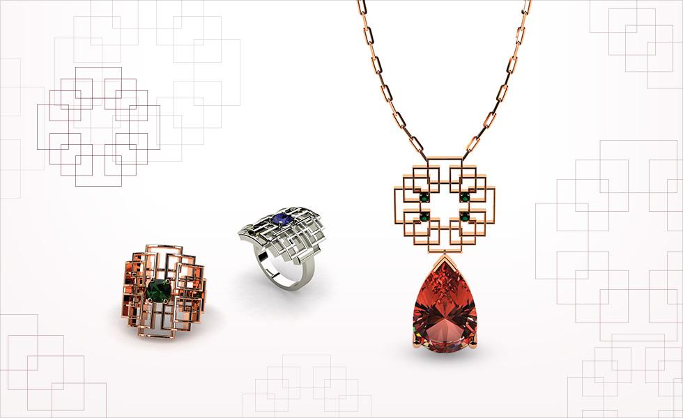 Colección oriente de lineas sobrias, compuesto por anillos y colgante