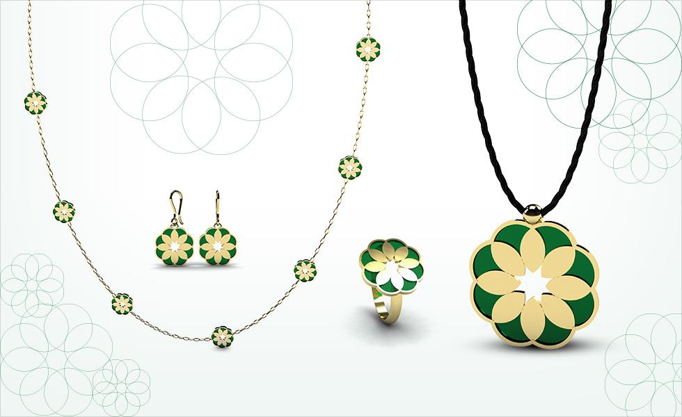 Colección petal, conjunto de pendientes, collar, anillo y colgante