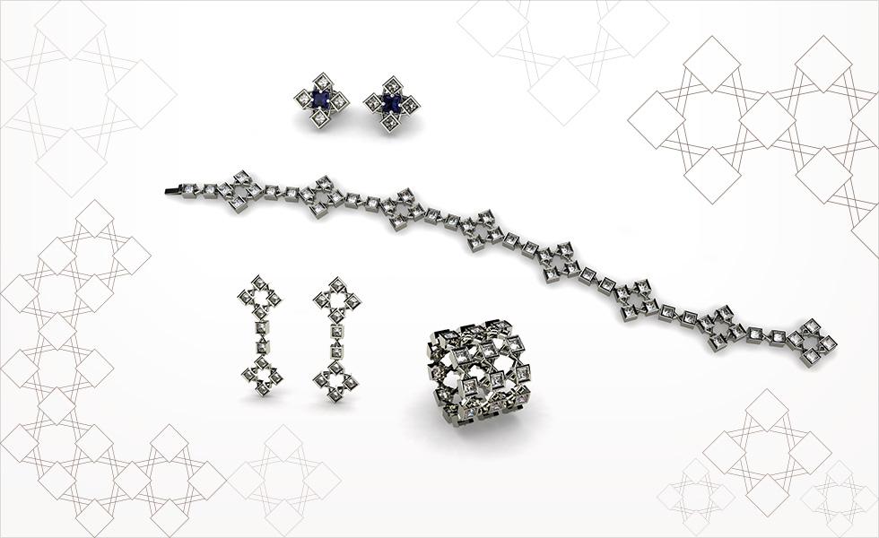Colección square, realizada en oro blanco y diamantes talla princesa