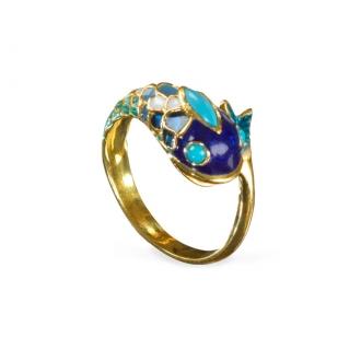 Anillo Vintage Pez. Oro y Esmaltado Azul. Joyerías Barcelona