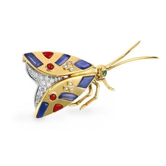 Broche Mariposa en Oro con Brillantes, Lapislázuli y Coral. Joyerías Barcelona